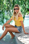Firecracker Crop Top - Mustard womens trendy short off the shoulder smocked top closet candy sitting