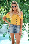 Firecracker Crop Top - Mustard womens trendy short off the shoulder smocked top closet candy front 2