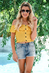 Firecracker Crop Top - Mustard womens trendy short off the shoulder smocked top closet candy front