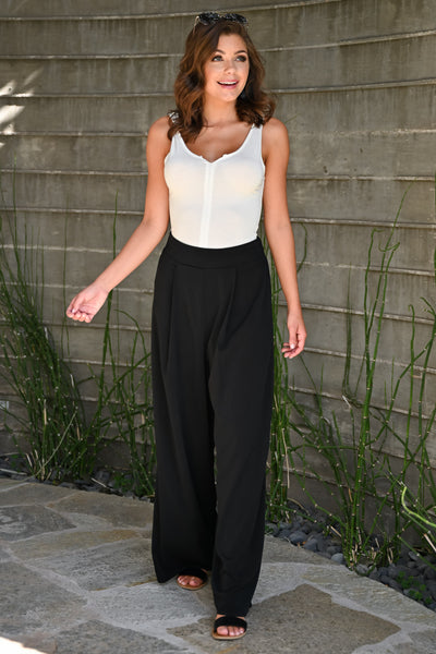 Get It Done Palazzo Pants - Black womens trendy wide leg pant closet candy front 2; Model: Hannah Sluss