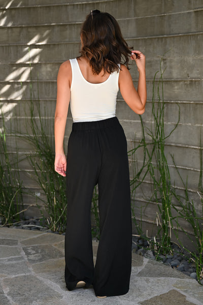 Get It Done Palazzo Pants - Black womens trendy wide leg pant closet candy back