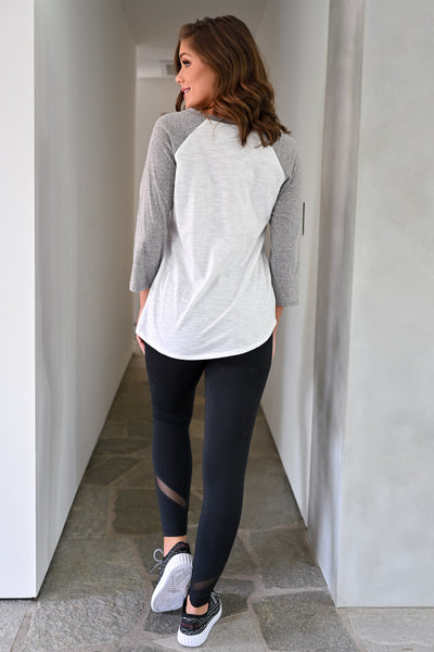 Home Run Top - Heather Grey womens casual baseball long sleeve top closet candy back