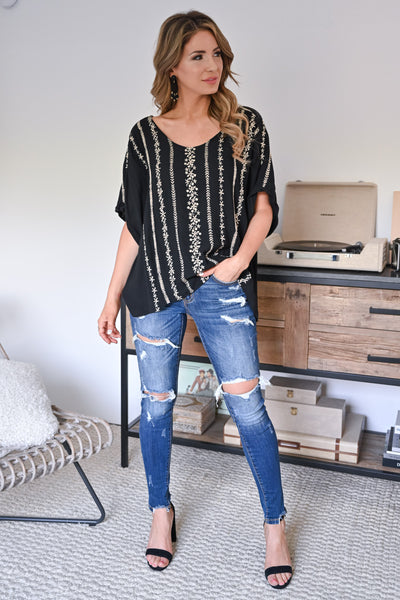 Just Checking In Top - Black womens trendy embroidered short sleeve top closet candy front
