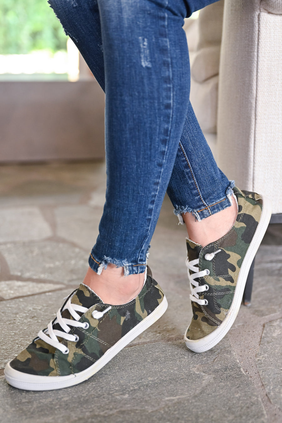 Stacy Sneakers - Camo womens casual slip on camo print sneakers closet candy side