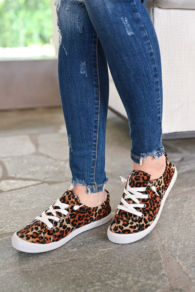 Stacy Sneakers - Leopard womens trendy slip on leopard print sneakers closet candy side