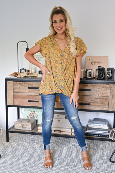 This One's For You Floral Top - Mustard womens trendy drape front floral blouse closet candy front
