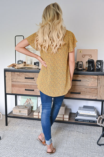 This One's For You Floral Top - Mustard womens trendy drape front floral blouse closet candy back