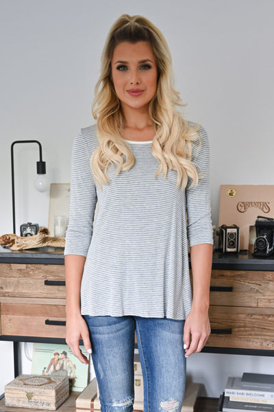 Weekend Mornings Top - Heather Grey womens casual striped 3/4 length sleeve top closet candy front 3