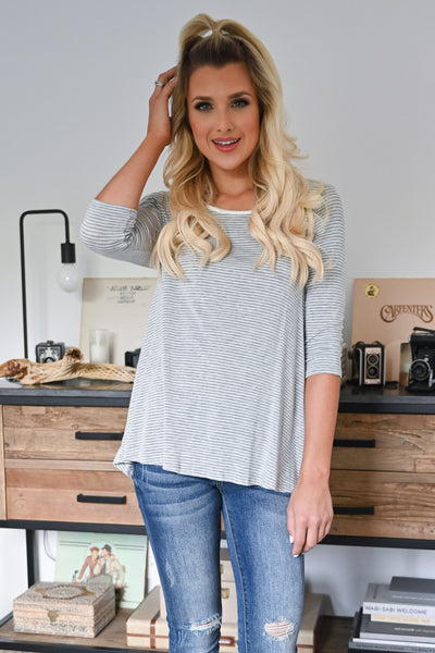Weekend Mornings Top - Heather Grey womens casual striped 3/4 length sleeve top closet candy front 2