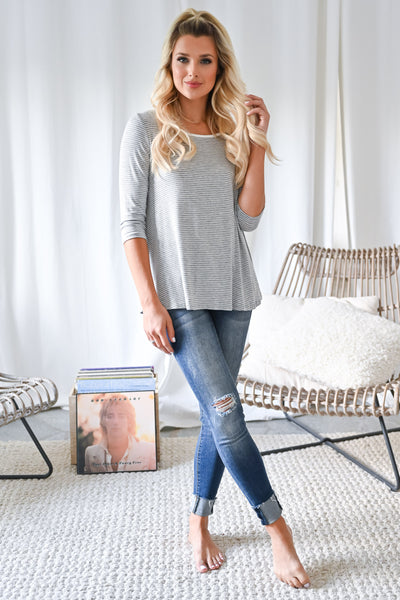 Weekend Mornings Top - Heather Grey womens casual striped 3/4 length sleeve top closet candy front