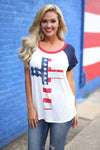 Closet Candy Boutique - cross american flag print tee, red white and blue shirt, july 4th outfit, God Bless America shirt