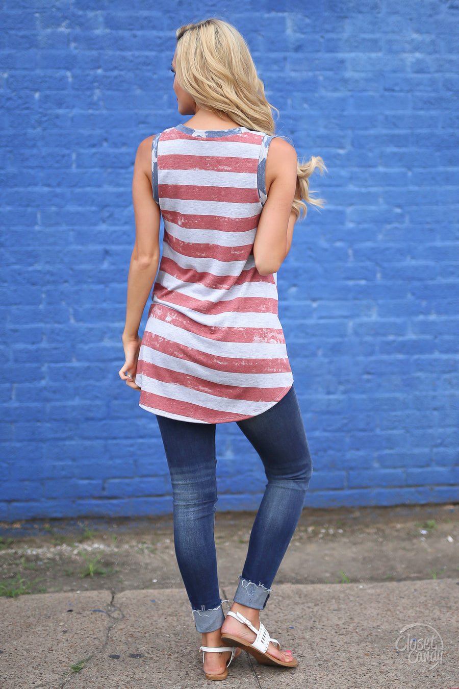 Closet Candy Boutique - red white and blue American flag print tank top for July 4th