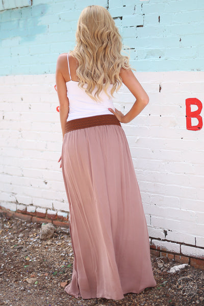Closet Candy Boutique - boho maxi skirt, bohemian style, spring and fall fashion, back