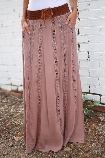 Closet Candy Boutique - boho maxi skirt, bohemian style, spring and fall fashion, front