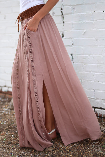 Closet Candy Boutique - boho maxi skirt, bohemian style, spring and fall fashion, side