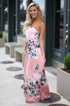 Closet Candy Boutique - blush floral print strapless maxi dress