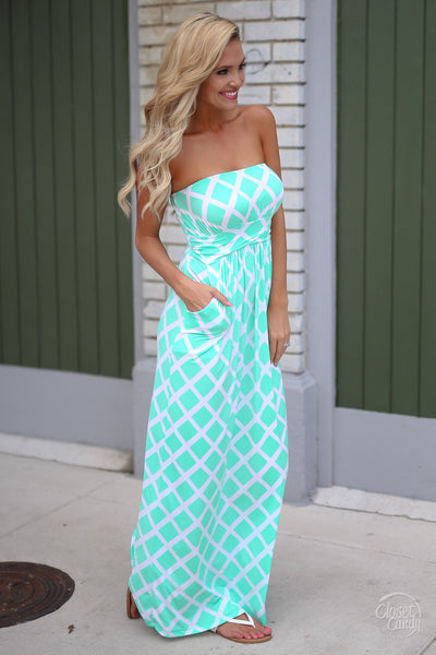 Closet Candy Boutique - cute diamond print strapless maxi dress for spring and summer, side