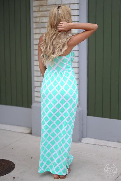 Closet Candy Boutique - cute diamond print strapless maxi dress for spring and summer, back