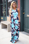 Garden Party Maxi Dress - Navy/Mint