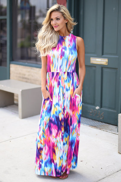 Closet Candy Boutique - cute colorful maxi dress for spring and summer