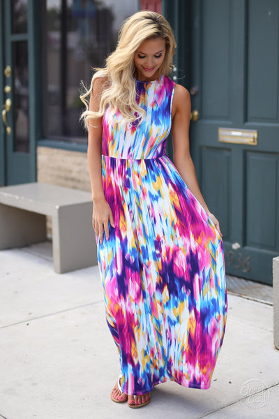 Closet Candy Boutique - cute colorful maxi dress for spring and summer, outfit