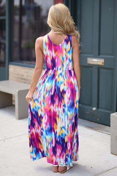 Closet Candy Boutique - cute colorful maxi dress for spring and summer, back