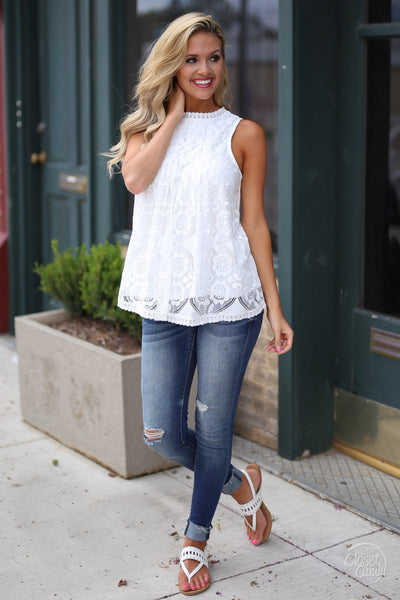 Closet Candy Boutique - white lace sleeveless top, spring and summer shirt, outfit