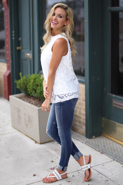 Closet Candy Boutique - white lace sleeveless top, spring and summer shirt, side