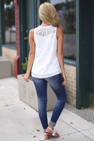 Closet Candy Boutique - white lace sleeveless top, spring and summer shirt, back