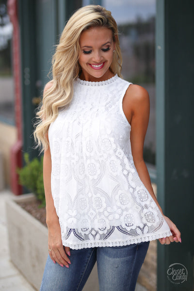 Closet Candy Boutique - white lace sleeveless top, spring and summer shirt