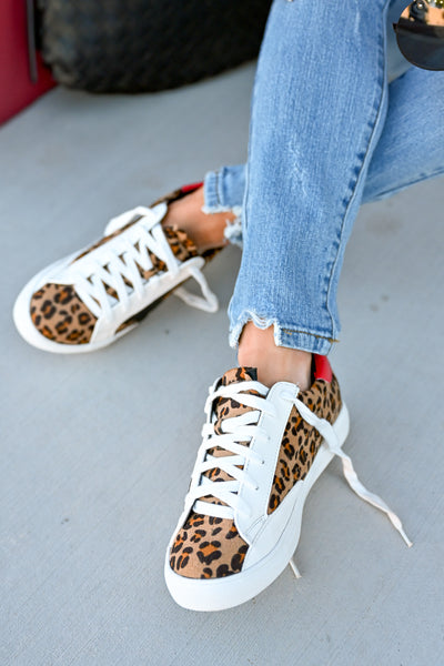 You're A Rockstar Sneakers - Leopard womens casual star leopard print tennis shoes closet candy sitting 2