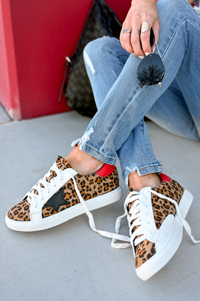 You're A Rockstar Sneakers - Leopard womens casual star leopard print tennis shoes closet candy sitting