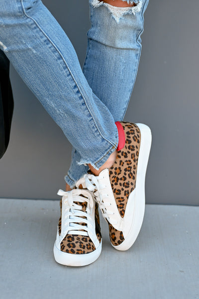 You're A Rockstar Sneakers - Leopard womens casual star leopard print tennis shoes closet candy front