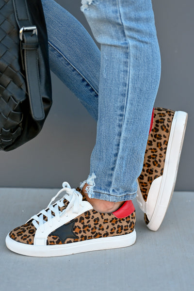 You're A Rockstar Sneakers - Leopard womens casual star leopard print tennis shoes closet candy side