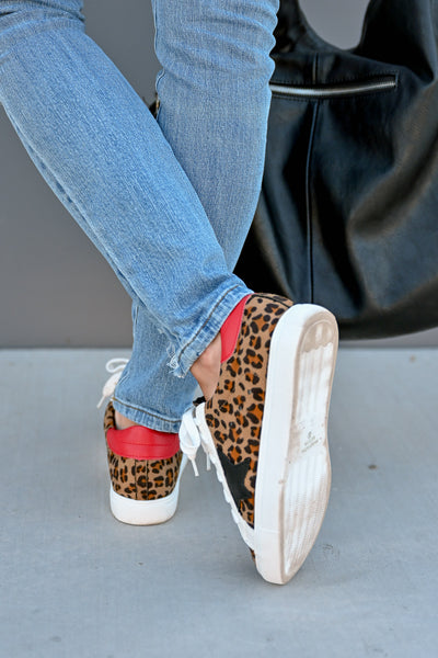 You're A Rockstar Sneakers - Leopard womens casual star leopard print tennis shoes closet candy back