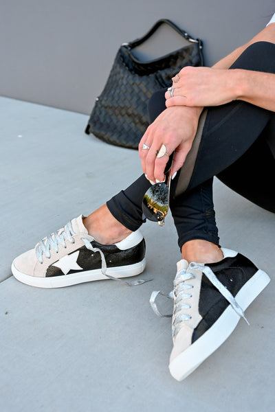 You're A Rockstar Sneakers - Black womens trendy star glitter lace sneakers closet candy sitting
