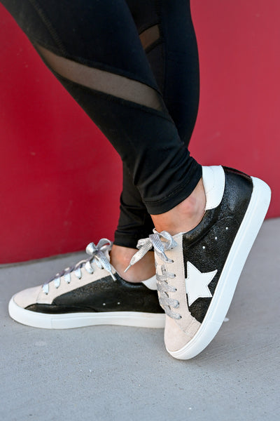 You're A Rockstar Sneakers - Black womens trendy star glitter lace sneakers closet candy side