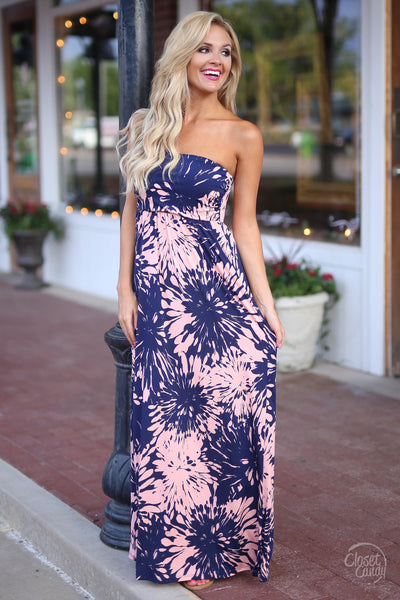 Closet Candy Boutique - pretty strapless floral print maxi dress, spring and summer outfit