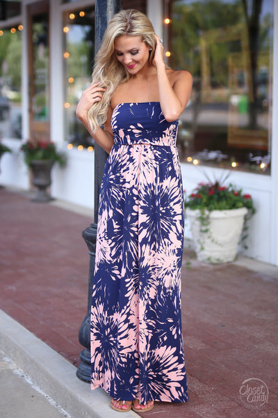 Closet Candy Boutique - strapless floral print maxi dress, spring and summer outfit