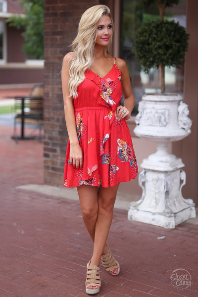 Closet Candy Boutique - red floral wrap dress, spring and summer outfit, front