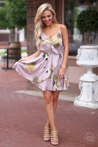 Beautiful Love Dress - cute taupe floral sundress, front view, Closet Candy Boutique