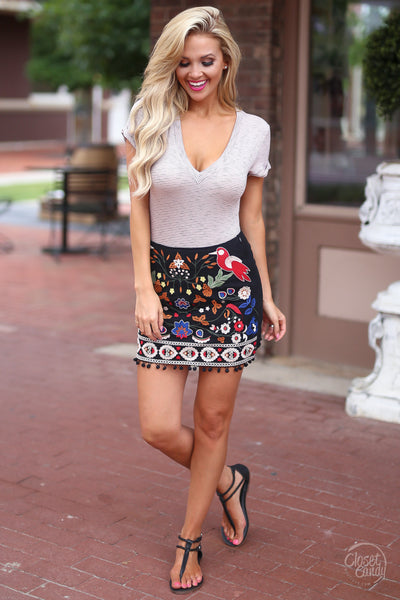 Closet Candy Boutique - cute floral embroidered mini skirt, striped bodysuit, sprig and summer outfit