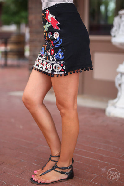 Closet Candy Boutique - cute floral embroidered mini skirt, sprig and summer outfit