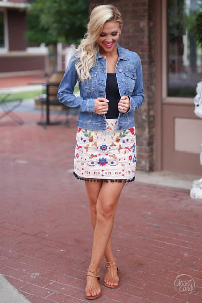 Closet Candy Boutique - floral embroidered skirt, colorful embroidery, jean jacket