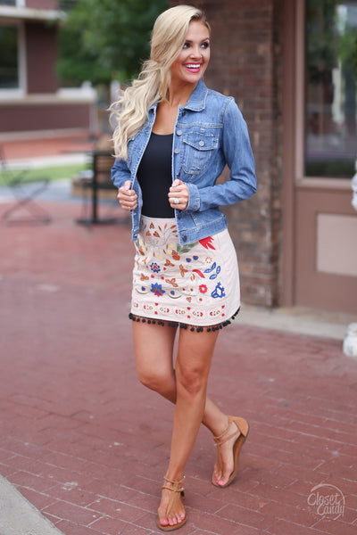 Closet Candy Boutique - floral embroidered skirt, colorful embroidery
