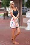 Closet Candy Boutique - floral embroidered skirt, colorful embroidery, side