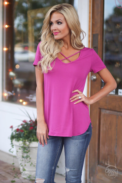 Blaze the Way Top - criss cross short sleeve top, spring and summer style, outfit, Closet Candy Boutique