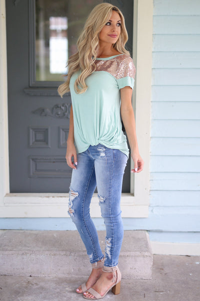 Spice Up Your Life Sequins Top - Mint womens sequin shirt closet candy boutique