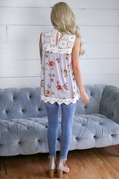 She's A Wildflower Top - Grey womens sleeveless floral crochet shirt coset candy boutique
