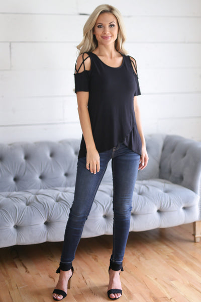New Direction Top - Black womens cold shoulder shirt closet candy boutique 1
